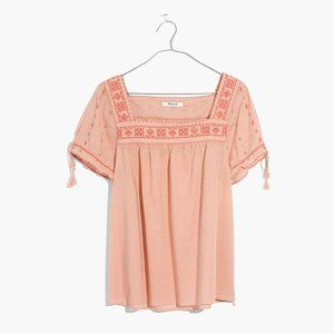 MADEWELL . La Villa Embroidered Peasant Top . S